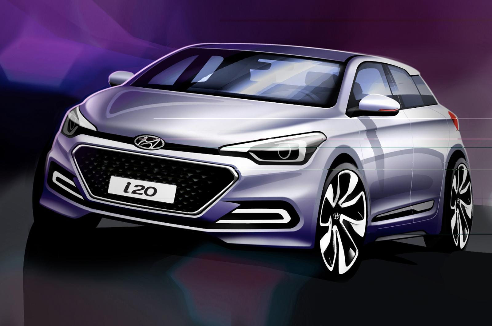 new hyundai i20 revealed in design sketches autocar. Black Bedroom Furniture Sets. Home Design Ideas