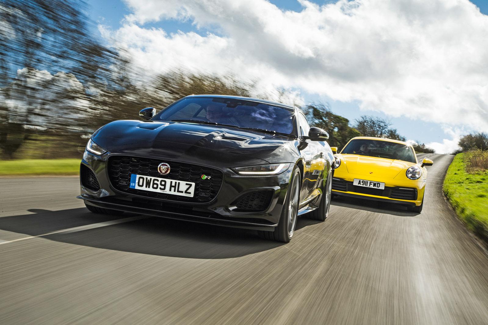 v8 vs flat six jaguar f type r battles porsche 911 autocar v8 vs flat six jaguar f type r battles