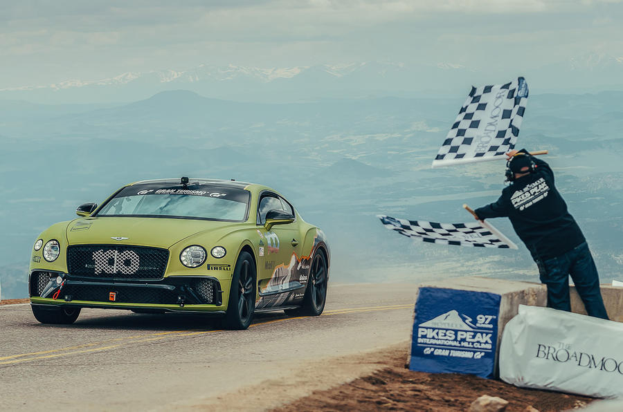 bentley continental gt driven by rhys millen crosses the line at pikes peak breaking the production car record 0