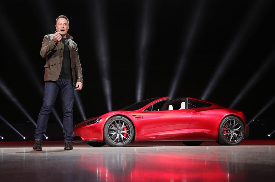 elon musk presents tesla roadster 0