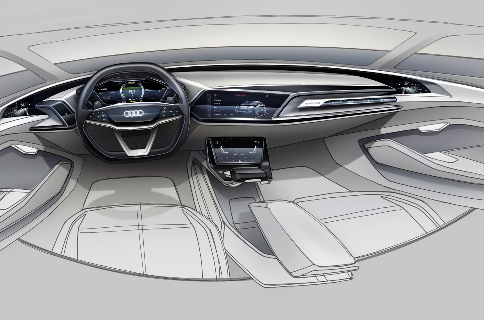 futuristic audi e tron concept previewed in new sketches autocar. Black Bedroom Furniture Sets. Home Design Ideas