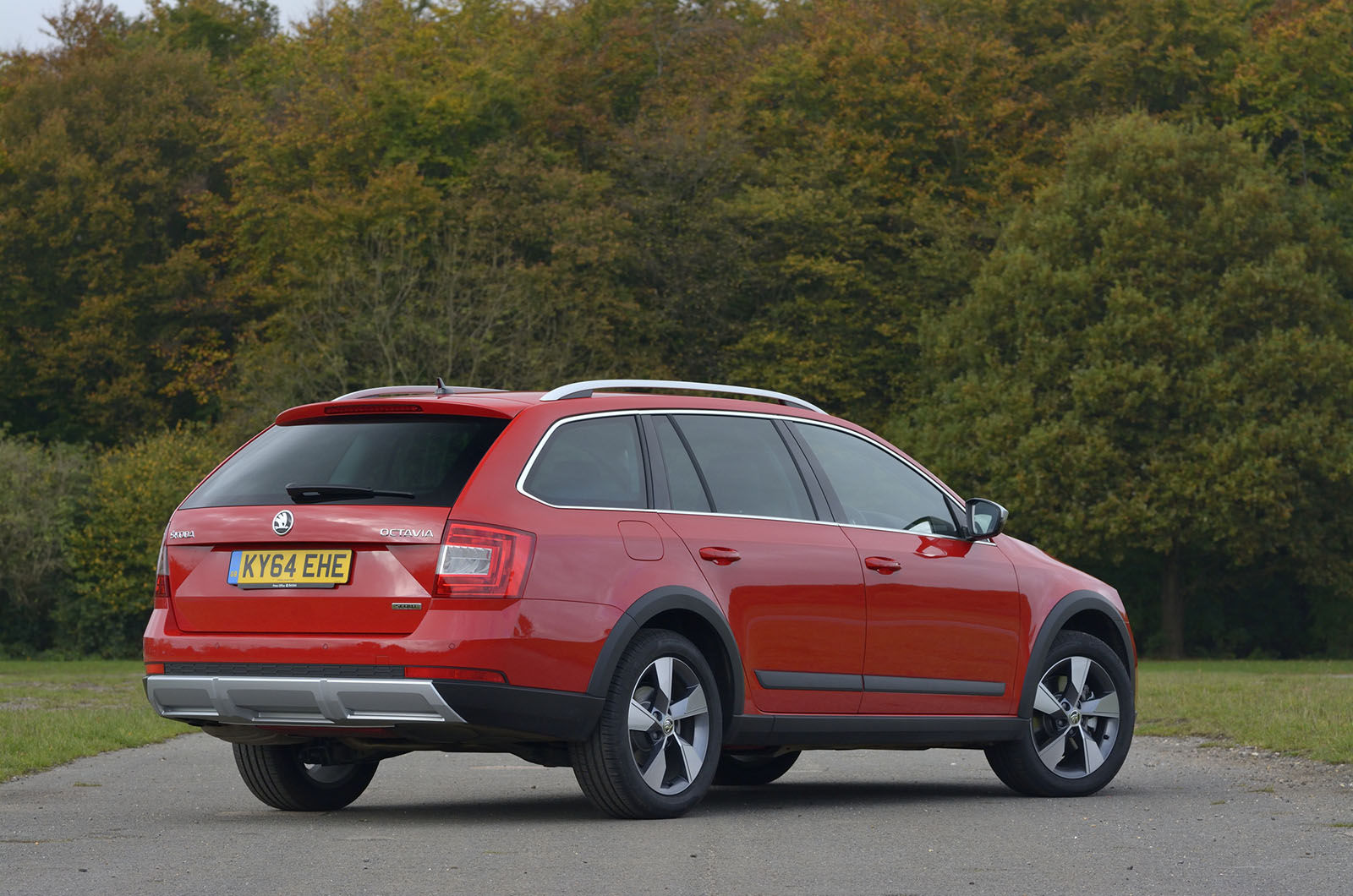 The Octavia Scout gets a raised ride height and rugged body cladding