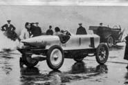 Percy Lambert fires up his Talbot for the record run at Brooklands
