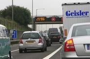 Motorway queue caution sign