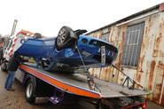 Skoda Octavia vRS upside down on recovery truck