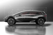Dyson electric car patent images overlaid on Autocar render