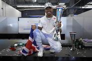 Lewis Hamilton celebrates his sixth world title
