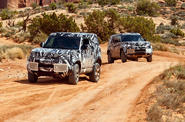 New Land Rover Defender in African desert
