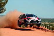 Ott Tänak catches air in his Toyota Yaris WRC car