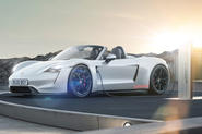 Electric Porsche Boxster render - roof down