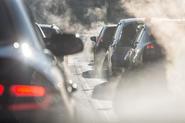 Traffic queue in smog