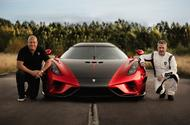 Christian von Koenigsegg and Sonny Persson next to the Regera