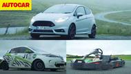 Video: Ford Fiesta ST200 vs eRally Renault Zoe vs Go-kart