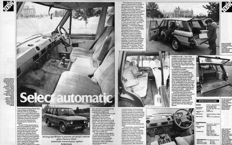 The Range Rover goes auto