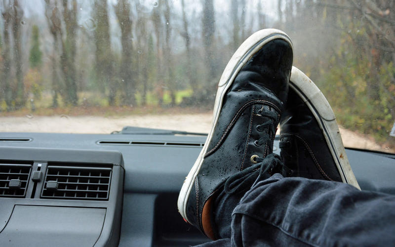 Putting your feet on the dashboard
