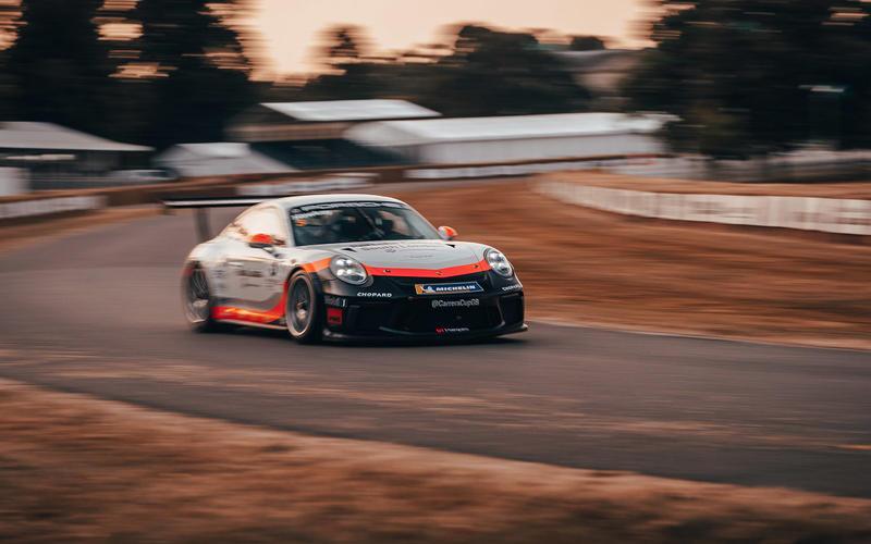 Porsche 911 GT3 Carrera Cup racer on the hill