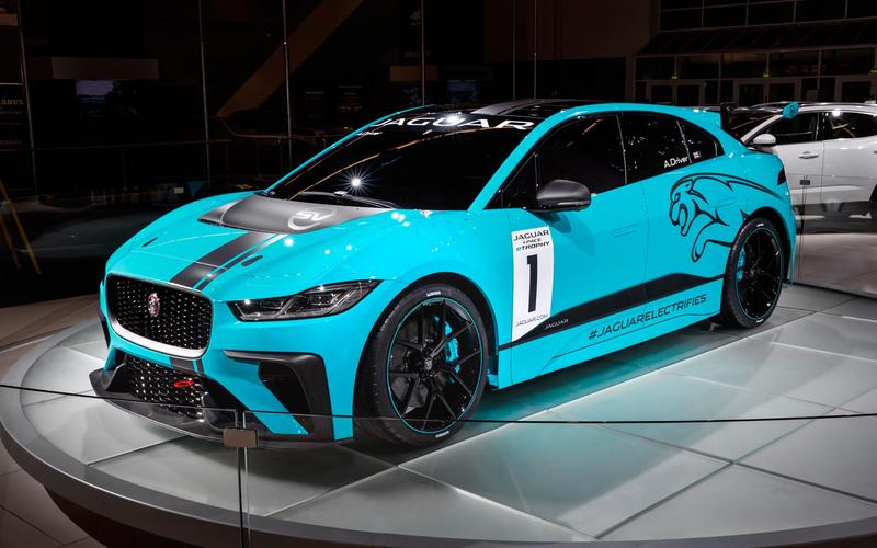 Jaguar has revealed a racing version of its I-Pace electric SUV at the Frankfurt motor show.