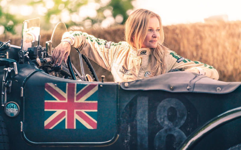 Katarina Kyvalova in a Bentley Blower at Goodwood