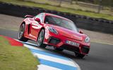 Porsche 718 Cayman GT4 2019 road test review - kerb hop