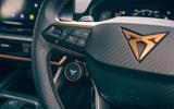 14 Cupra Leon Estate 2021 road test review steering wheel