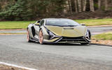16 lamborghini sian 2021 uk first drive review cornering front