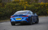 BMW M8 Competition coupe 2020 road test review - on the road rear