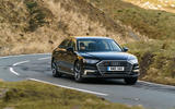 Audi A8 60 TFSIe 2020 road test review - cornering front