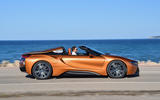 BMW i8 Roadster 2018 review on the road side