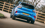 23 Ford Puma ST 2021 road test review cornering rear