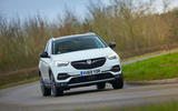 Vauxhall Grandland X Hybrid4 2020 road test review - cornering front