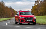 Audi RS Q3 2020 road test review - cornering front