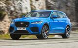 Jaguar F-Pace SVR 2019 first drive review - cornering front