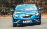 24 Renault Megane E Tech PHEV road test 2021 cornering front