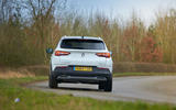 Vauxhall Grandland X Hybrid4 2020 road test review - cornering rear