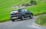 MG ZS EV 2019 road test review - cornering rear