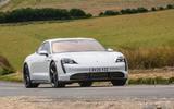 Porsche Taycan 2020 road test review - cornering front