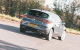 Seat Leon eHybrid 2020 road test review - cornering rear