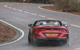 BMW M8 Competition convertible 2020 road test review - cornering rear
