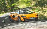 McLaren 600LT Spider 2019 road test review - cornering front
