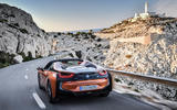 BMW i8 Roadster 2018 review on the road rear