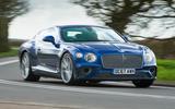 Bentley Continental GT 2018 Autocar road test review cornering left
