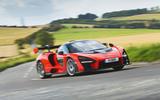 McLaren Senna 2018 road test review - cornering front