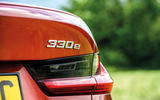 BMW 3 Series 330e 2020 road test review - rear badge