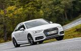 The Audi A4 feels firm and closely connected to the road surface...