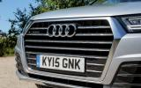 The Audi Q7 has the trademark design signature with its extra-chromey single-frame grille
