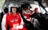 Mikko Hirvonen flat-out at Goodwood's rally stage