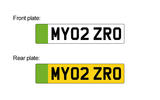 Green front and rear number plates