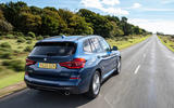 BMW X3 xDrive30e 2020 UK first drive review - on the road rear