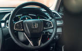 Honda Civic saloon 2018 UK first drive review steering wheel