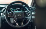 Honda Civic saloon 2018 UK first drive review steering wheel